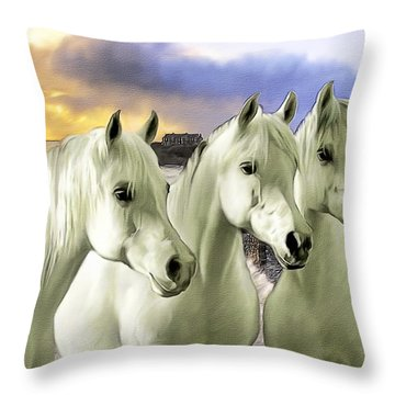 Lipizzans Throw Pillow by Tom Schmidt