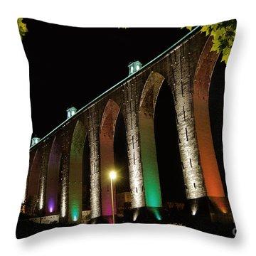Lisbon Historic Aqueduct By Night Throw Pillow