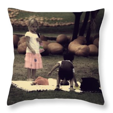 listen Its your turn to watch the baby I'm going shopping Throw Pillow by Kelly Rader