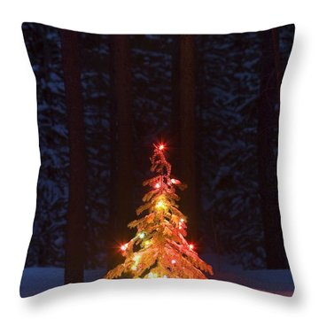 Lit Christmas Tree In A Forest Throw Pillow by Carson Ganci