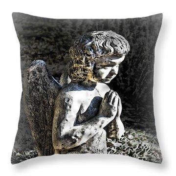 Little Angel Statue Throw Pillow