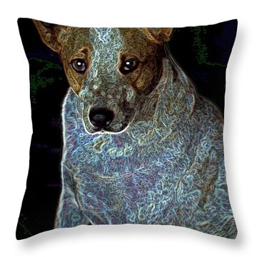Little Blue Throw Pillow by One Rude Dawg Orcutt