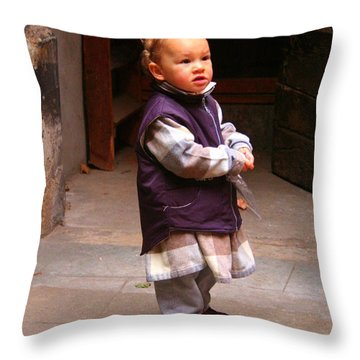 Throw Pillow featuring the photograph Little Boy Blue In Lyon by Laurel Talabere