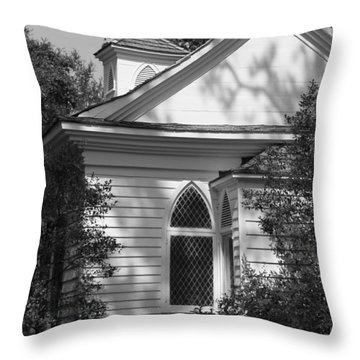 Little Chapel In The Woods In Black And White Throw Pillow by Suzanne Gaff