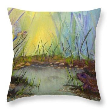 Little Frog Pond Throw Pillow