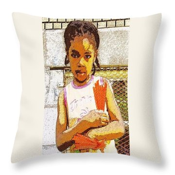 Little Girl With Red Licorice And Maple Leaf Throw Pillow by Lydia Lockett