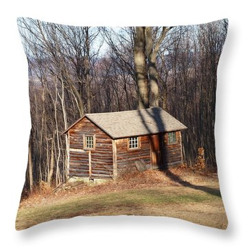 Little House In The Woods Throw Pillow by Robert Margetts
