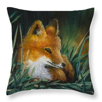 Little Kit Throw Pillow by Dee Carpenter