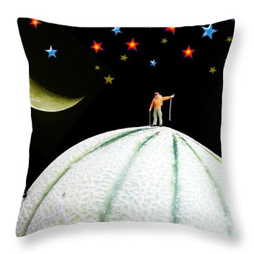 Little People Hiking On Fruits Under Starry Night Throw Pillow by Paul Ge