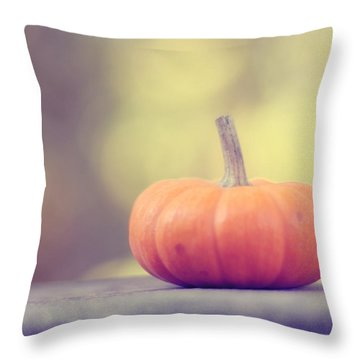 Little Pumpkin Throw Pillow by Amy Tyler