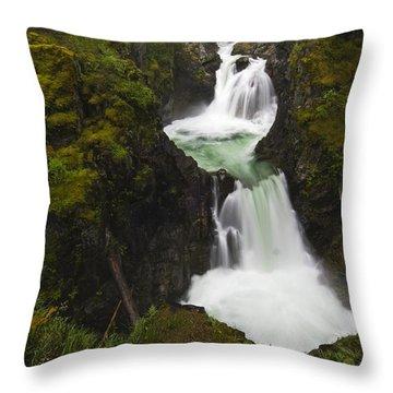Little Qualicum Falls Provincial Park Throw Pillow by Mike Grandmailson