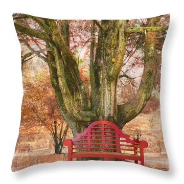 Little Red Bench Throw Pillow by Debra and Dave Vanderlaan
