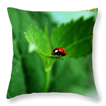 Little Red Lady Throw Pillow