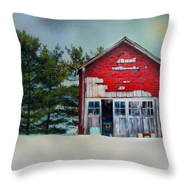Throw Pillow featuring the photograph Little Red Shed by Mary Timman