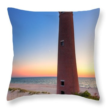 Little Sable Point Light Station Throw Pillow by Larry Carr