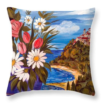 Throw Pillow featuring the painting Little Village by Roberto Gagliardi