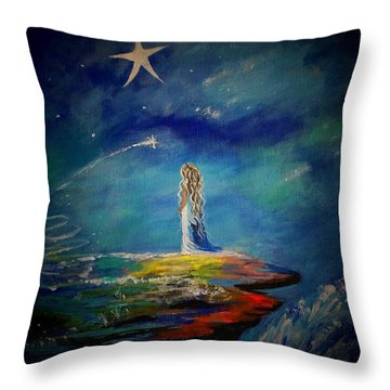 Little Wishes One Throw Pillow by Leslie Allen