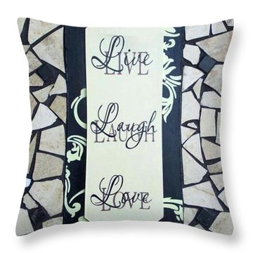 Live-laugh-love Tile Throw Pillow by Cynthia Amaral