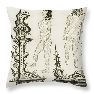 Live Nude 18 Female Throw Pillow by Robert SORENSEN
