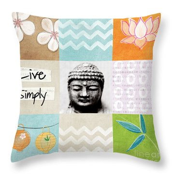 Live Simply Throw Pillow by Linda Woods