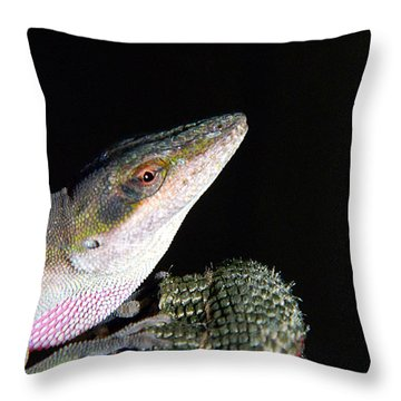 Throw Pillow featuring the photograph Lizard by Ester  Rogers