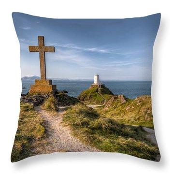 Llanddwyn Island Throw Pillow by Adrian Evans