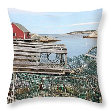 Lobster Pots Throw Pillow by Kristin Elmquist