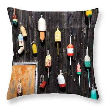 Throw Pillow featuring the photograph Lobster Shack With Brightly Colored Buoys by Karen Lee Ensley