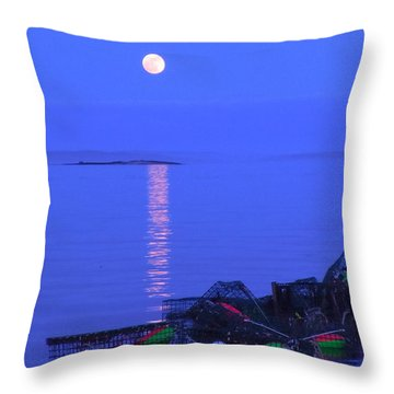 Lobstering Moon Throw Pillow by Francine Frank