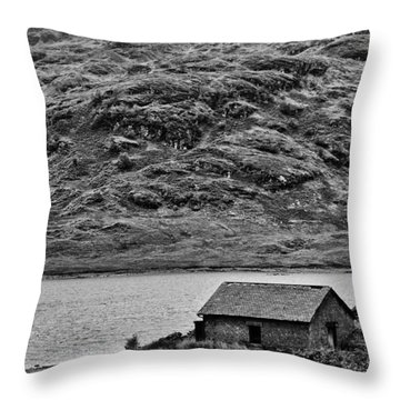 Loch Arklet Boathouse Throw Pillow by Chris Thaxter