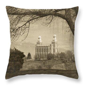 Logan Lds Temple Throw Pillow
