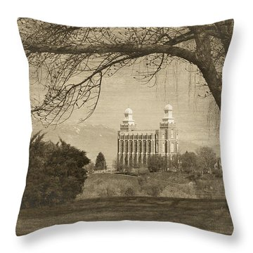 Logan Lds Temple Throw Pillow