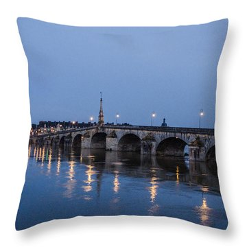 Loire River By Night Throw Pillow