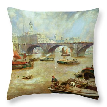 London Bridge From Bankside Throw Pillow by Sir David Murray