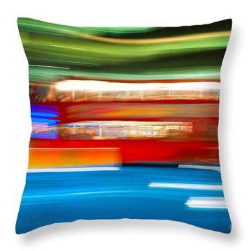 Throw Pillow featuring the photograph London Bus Motion by Luciano Mortula