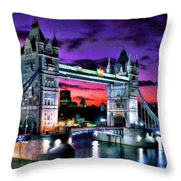 London Evening At Tower Bridge Throw Pillow