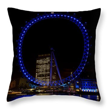London Eye And River Thames View Throw Pillow
