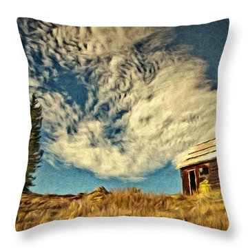 Lone Cabin Throw Pillow by Jeff Kolker