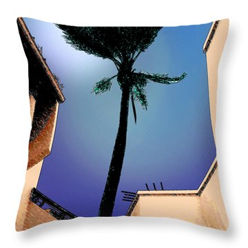 Lone Palm Throw Pillow by Ginny Schmidt