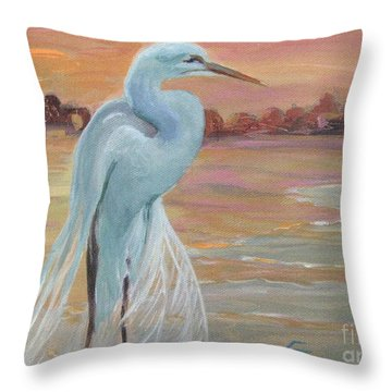 Lonely Egret Throw Pillow by Gretchen Allen