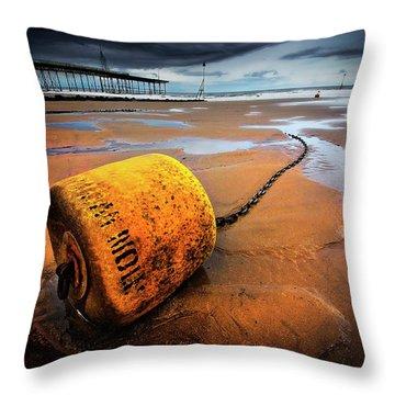 Lonely Yellow Buoy Throw Pillow by Meirion Matthias