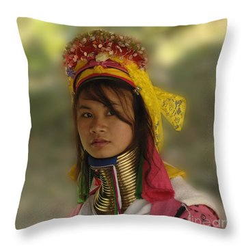 Long Neck Beauty Karen Tribe Throw Pillow by Bob Christopher
