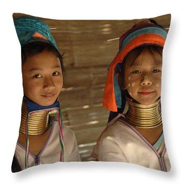 Long Neck Girls Throw Pillow by Bob Christopher