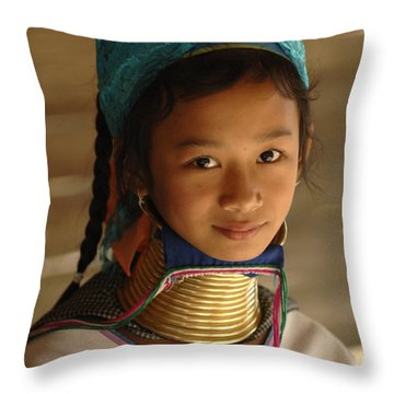 Long Necked Girl 2 Throw Pillow by Bob Christopher
