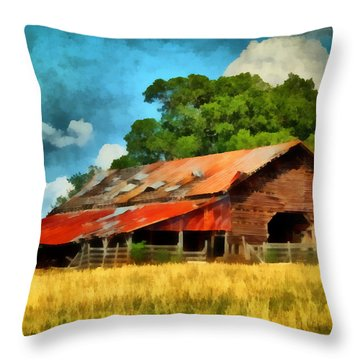 Long Road Barn Throw Pillow by Lynne Jenkins