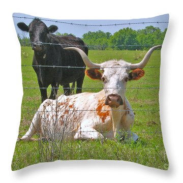 Longhorn Resting Throw Pillow