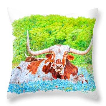 Longhorns In Bluebonnets Throw Pillow
