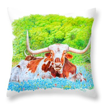 Throw Pillow featuring the drawing Longhorns In Bluebonnets by Mike Ivey