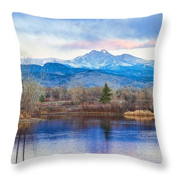 Longs Peak And Mt Meeker Sunrise At Golden Ponds Throw Pillow by James BO  Insogna