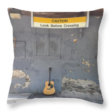 Look Before Crossing Throw Pillow by Bill Cannon